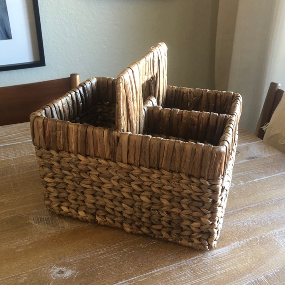 Pottery Barn Woven 3- Space Caddy with Handle